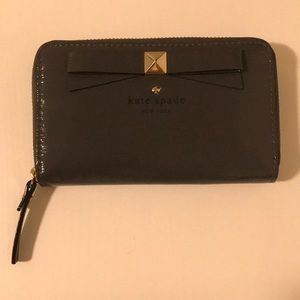 Kate Spade Gray Patent Leather Wallet with Bow